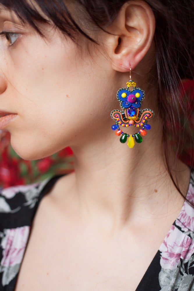 Image of Deli Earrings - Margarita - Petites boucles brodées