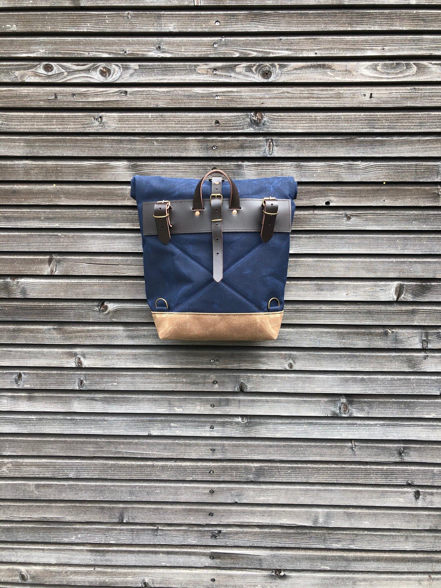 Image of Blue E-bike pannier / Electric bike bag / waterproof bicycle bag / Bicycle bag in waxed canvas / Bik