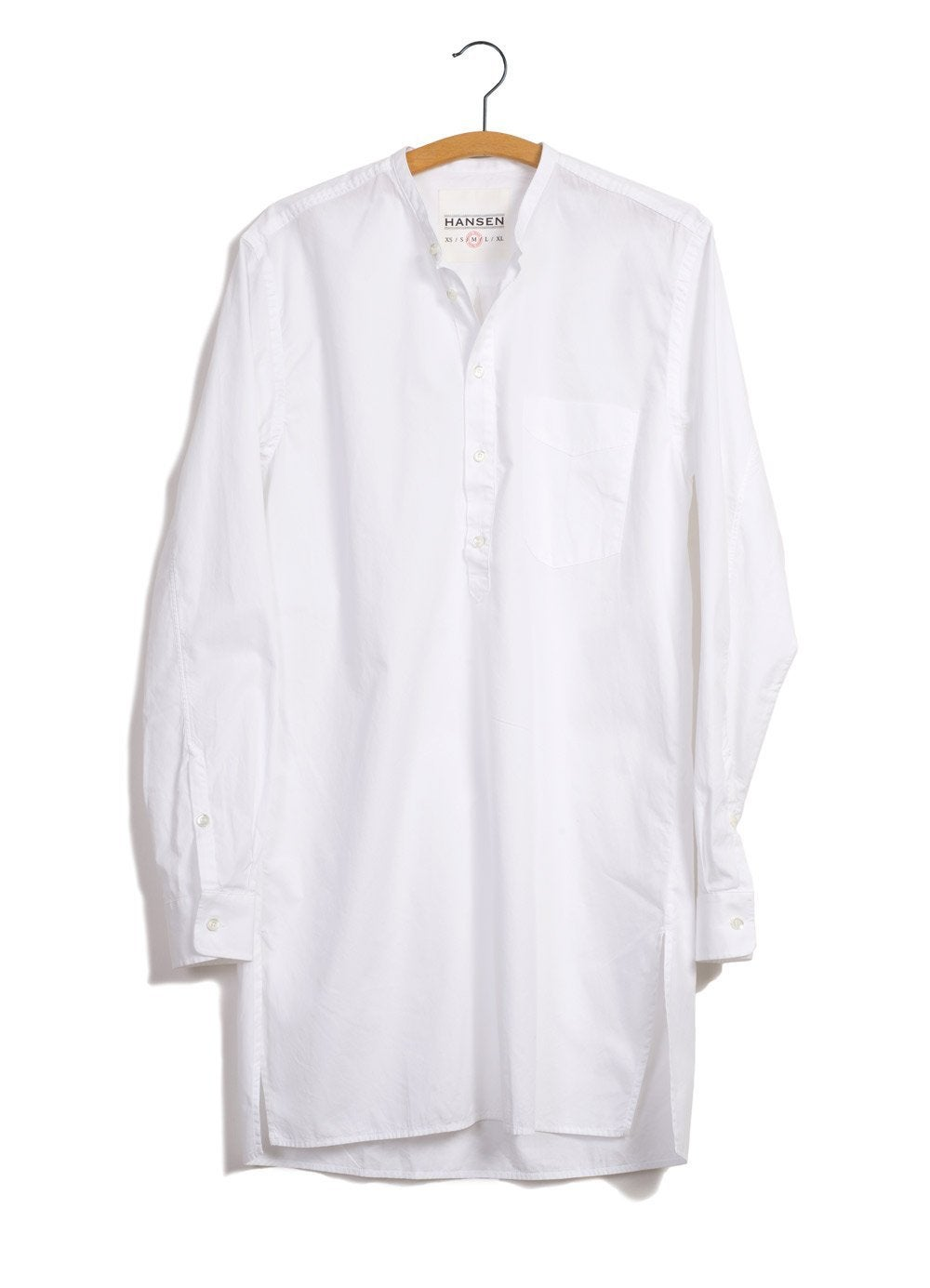 Hansen Garments ARILD | Long Collarless Pull-on shirt | white, black, sea