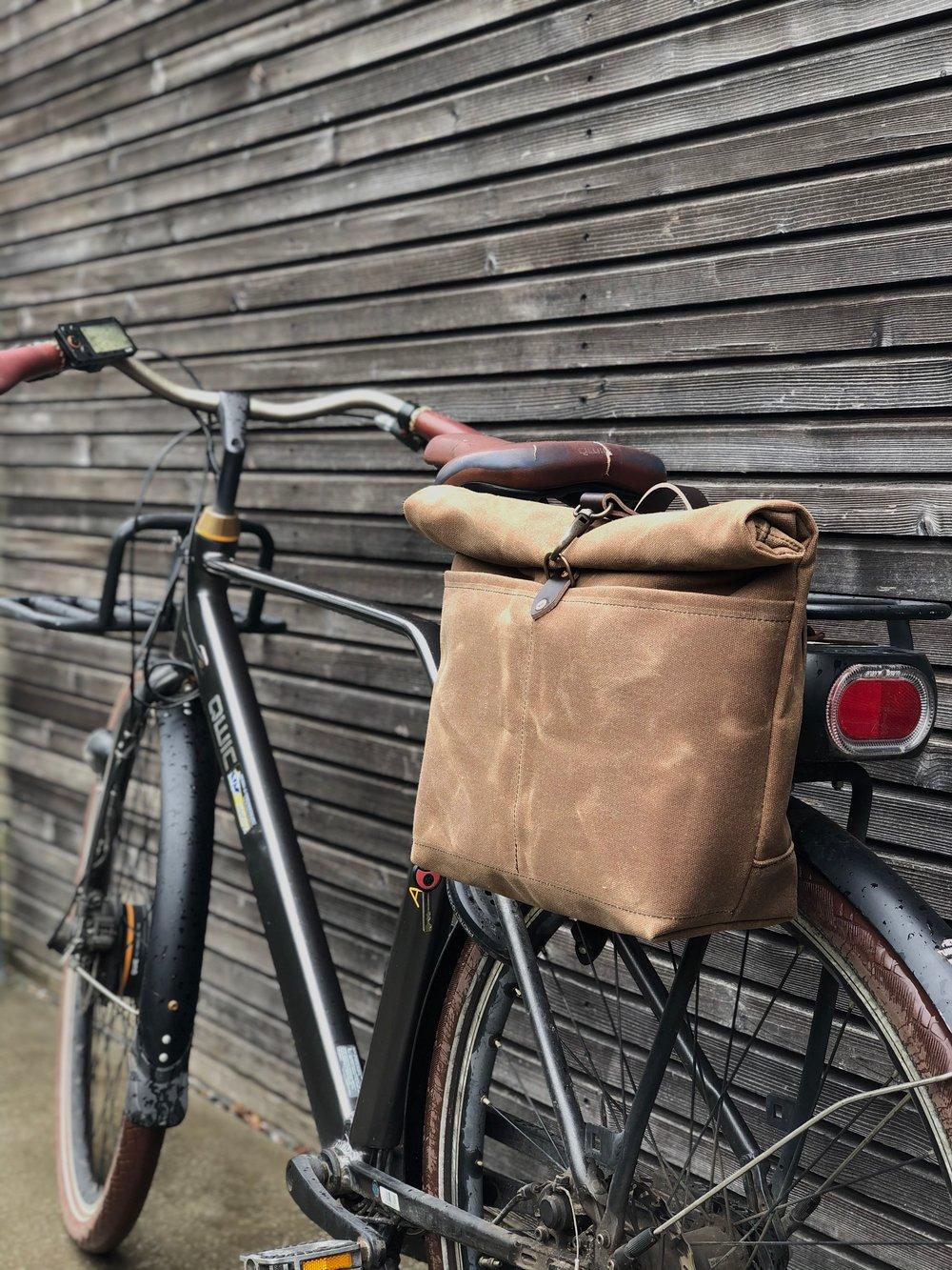 Image of Tan waxed canvas saddlebag for Super73  Motorcycle bag Bicycle bag in waxed canvas Bike