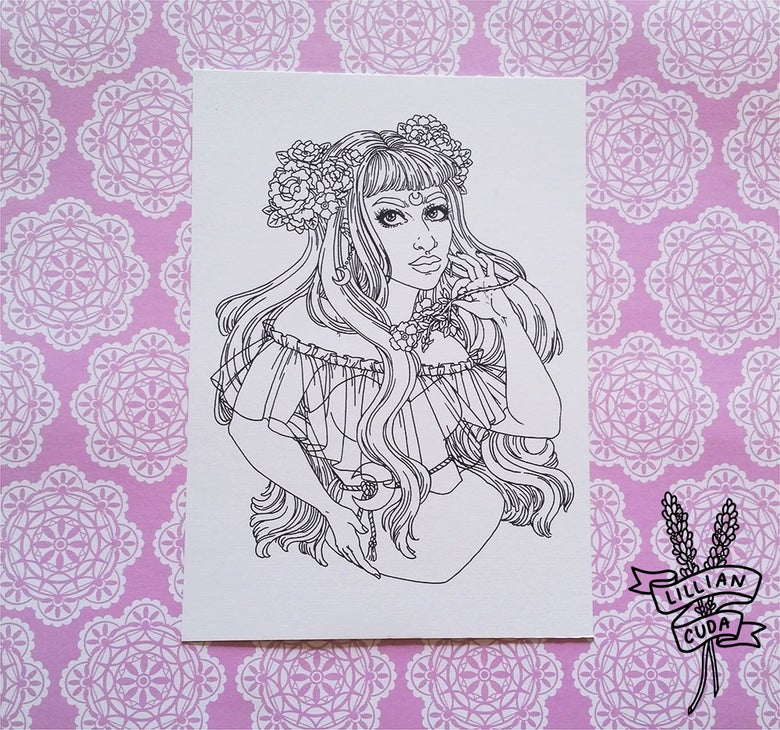 Image of Colour-In Witchcraft Art Prints