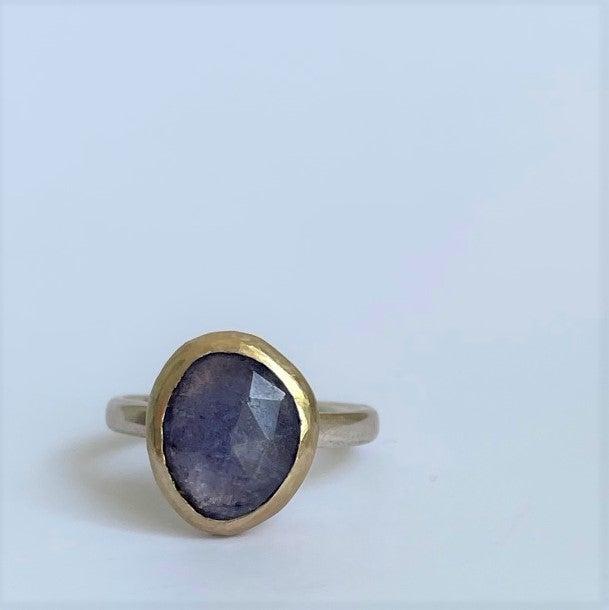 Image of Tanzanite silver and gold ring