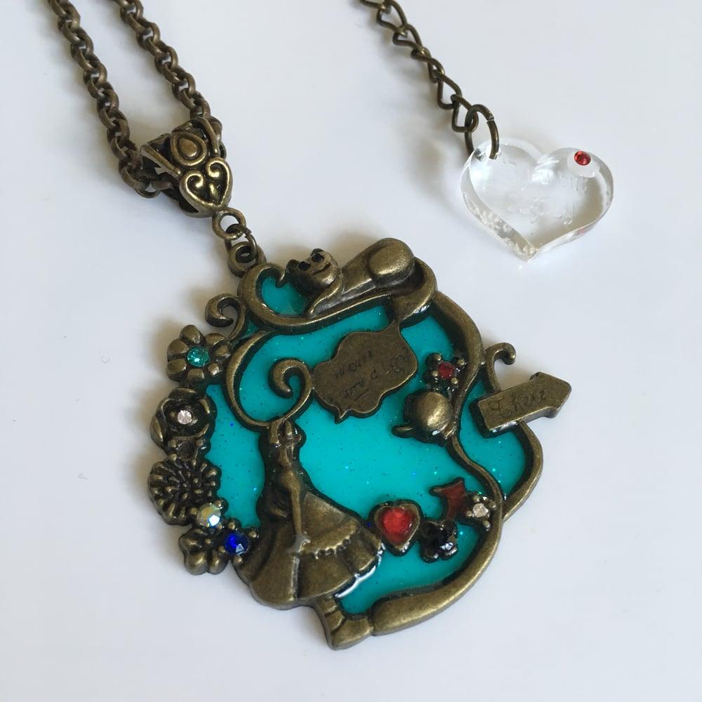 Wonderland Alice & White Rabbit  Pendant