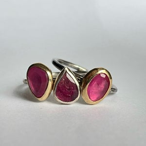 Image of 9ct gold and silver Pink Tourmaline ring