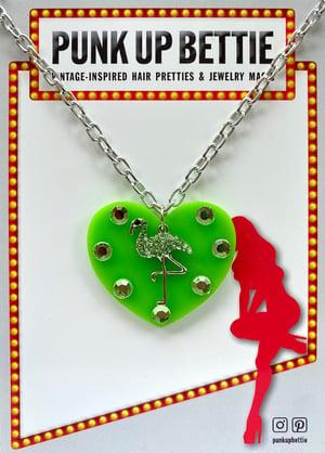 Image of Flamingo Sparkle Sweethearts Earrings - Lime Green