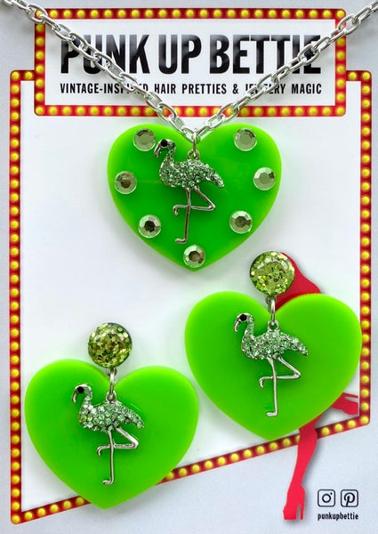 Image of Flamingo Sparkle Sweethearts Necklace - Lime Green