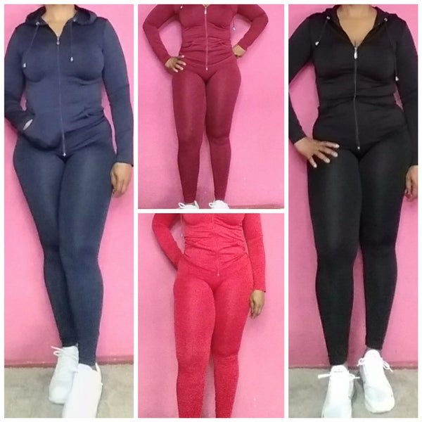 Image of ONE SIZE 2 PIECE  HOODIE TRACK SUIT FITS SMALL 6 - XLARGE 14