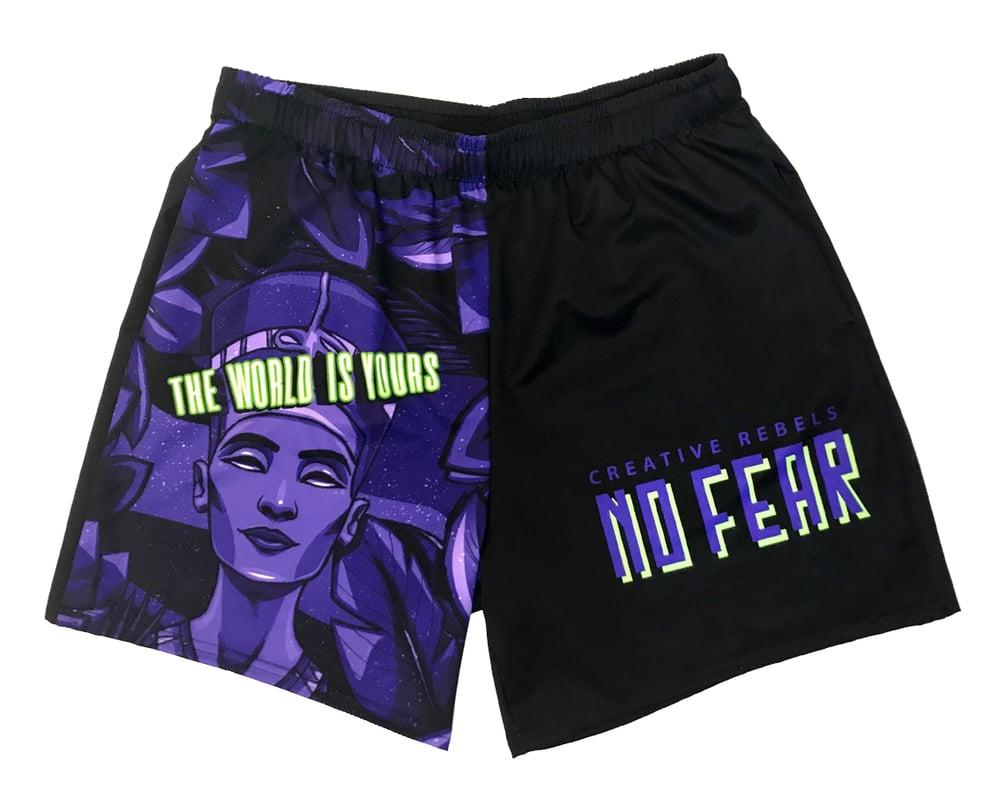 Image of No Fear Black/Purple (Drawstring Shorts)
