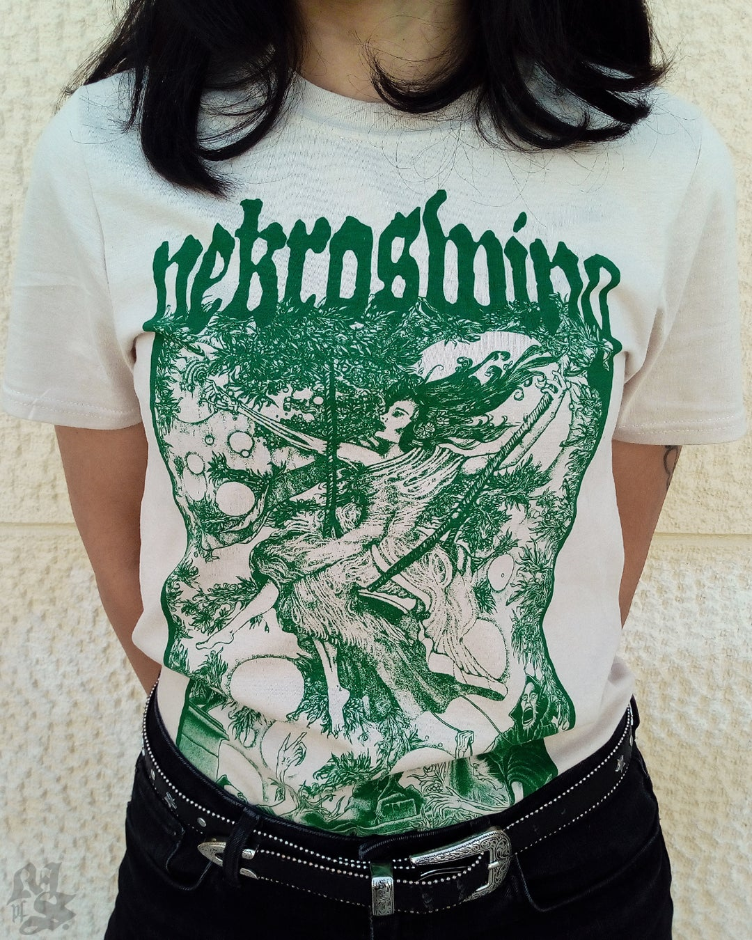 Image of NEKROSWING<br/> Sand Variant<br/> <small>Hand Printed Collab Tee</small>