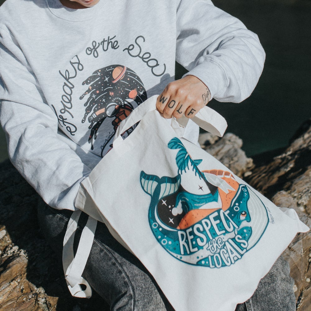 Image of Respect the locals whale tote bag