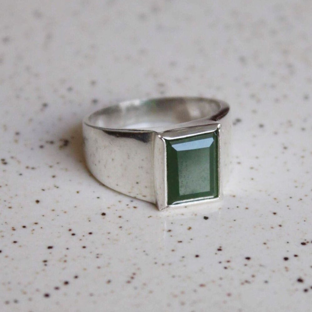 Image of Green Jade rectangular cut wide band silver ring