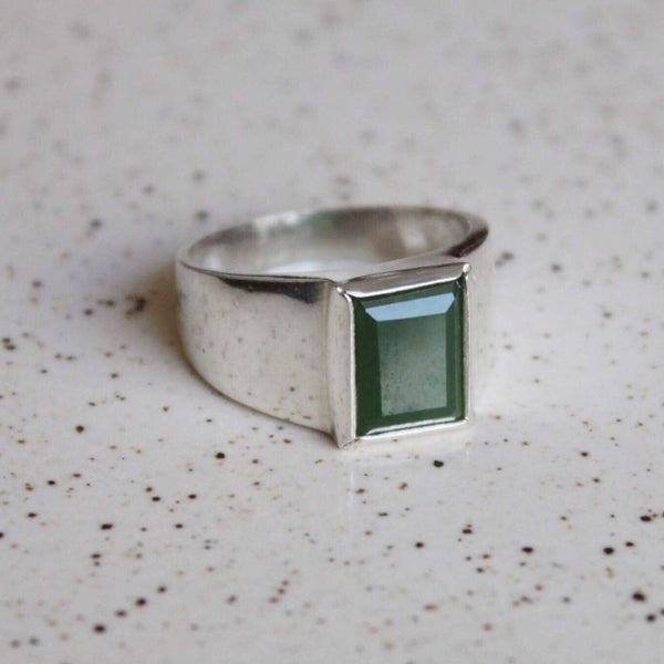 Image of Green Jade rectangular cut wide band silver ring