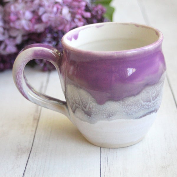 Image of Purple Pink and White Mug, Handcrafted Pottery 14 oz. Coffee Cup, Made in USA