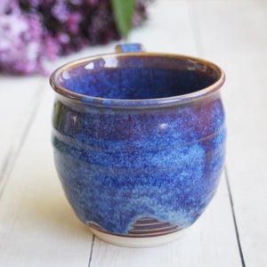 Image of Cheerful Pottery Mug in Bright Blue Purple and Mauve Glazes, 14 oz. Coffee Cup, Made in USA