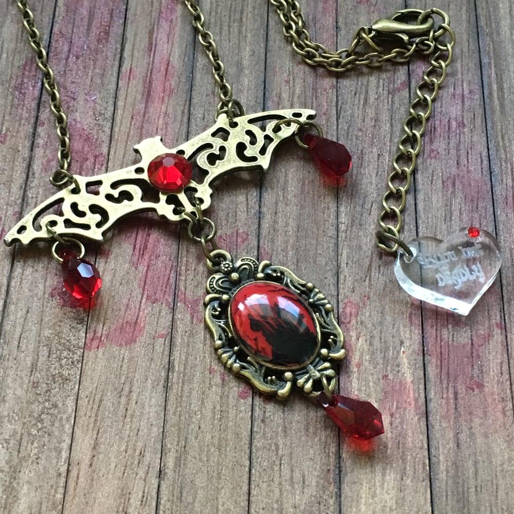 Vampire's Castle Bat Filigree Necklace