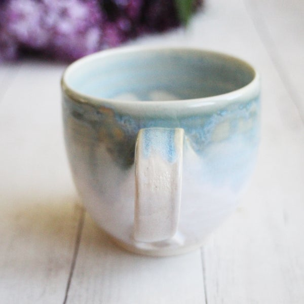 Image of Handmade Sea Glass Blue and Matte White Mug, 12 oz. Stoneware Pottery Coffee Cup, Made in USA