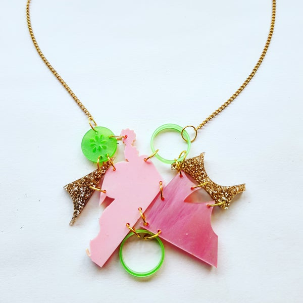 Image of Pink, Green and Gold Zero Waste Necklace