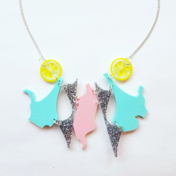 Image of Mint, Pink and Silver Zero Waste Necklace