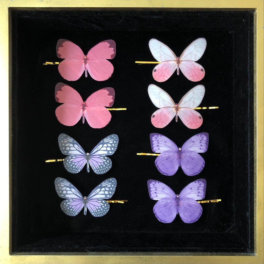 Image of NEW! Silk Butterfly Hair Pins - pink & purple