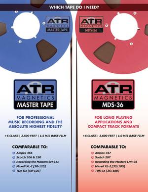 "Image of ATR MASTER 40907-7 1/4"" x 1250' on  7"" Plastic Reel in White Cardboard Box"