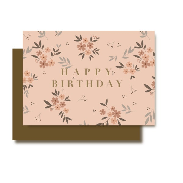 Image of Carte Happy Birthday pink ( avec dorure)