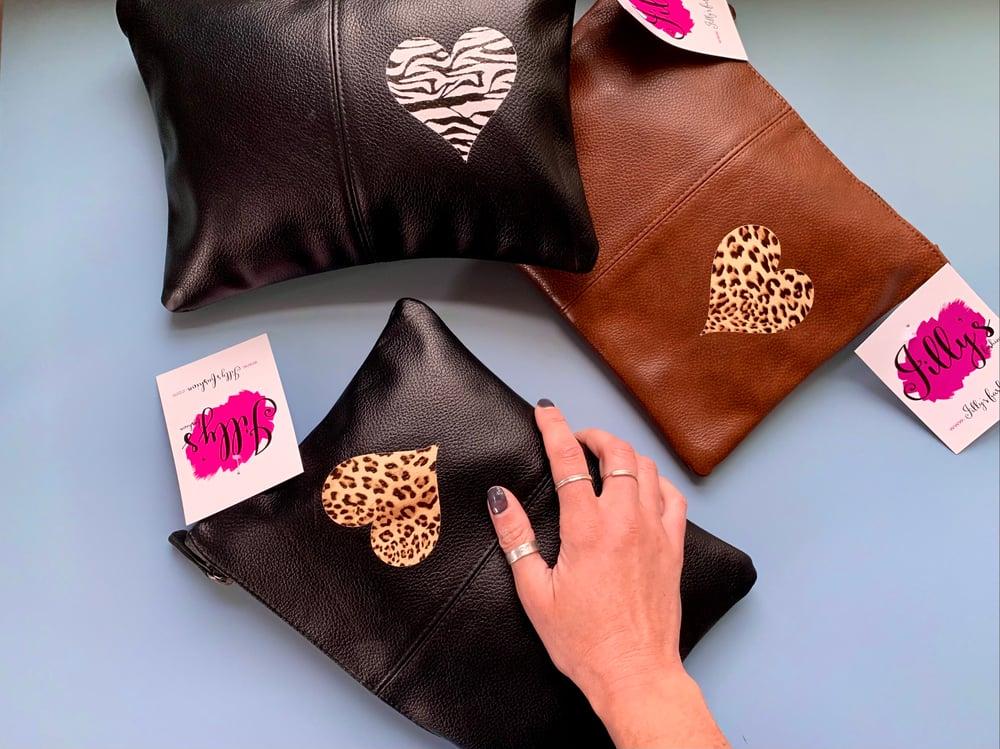 Jilly's clutch bag - Harriet heart, animal prints