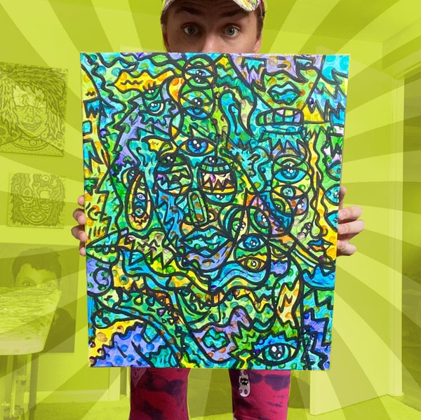 """Image of """"Ectoplasmic Expression"""" - Acrylic Painting on 16 x 20 inch Canvas"""