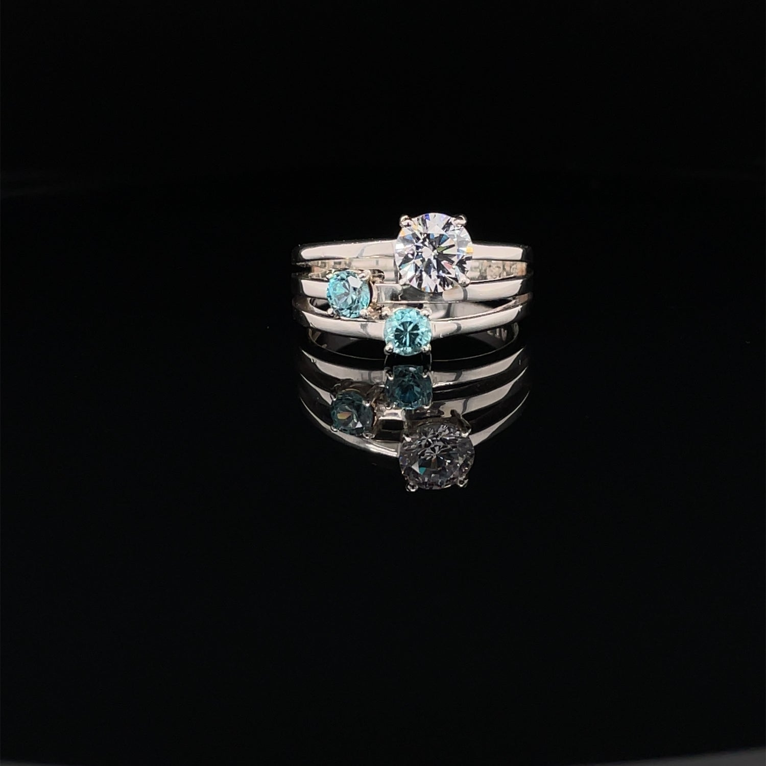 Image of Blue Zircon and CZ in Sterling