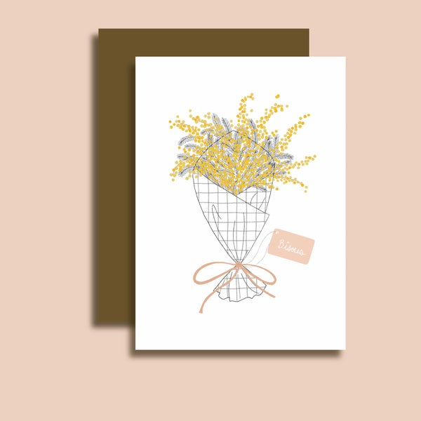 Image of Carte bouquet de mimosa bisous