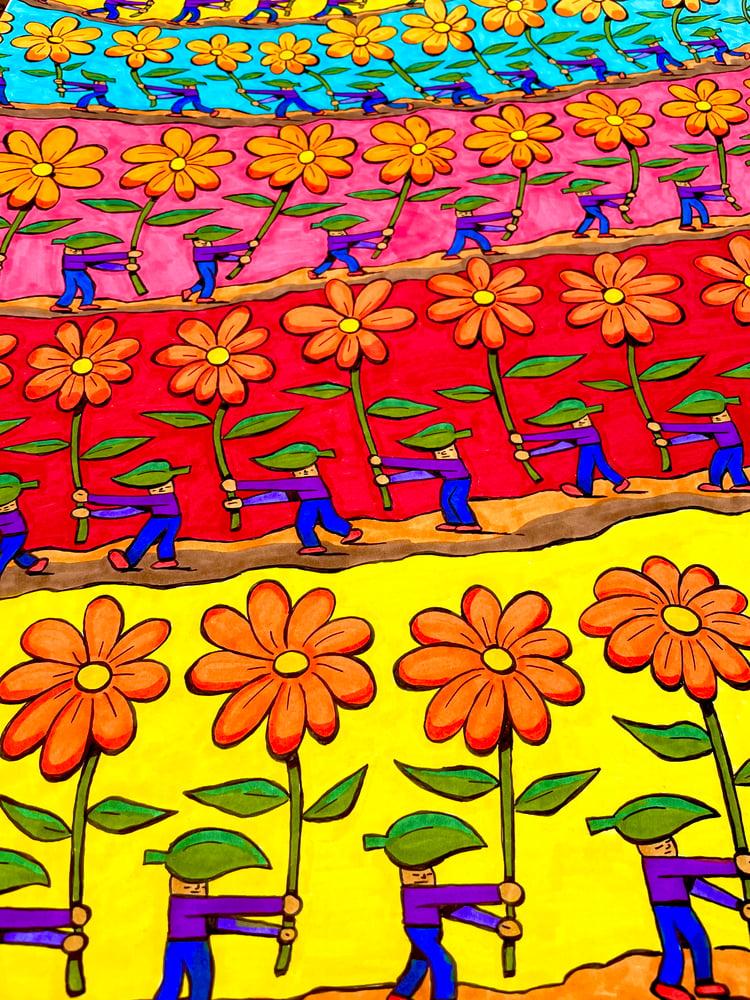 Image of Flower March 17x24 inch original illustration ink on Bristol
