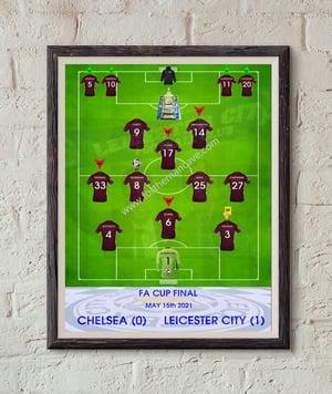 Image of FA CUP FINAL 2021 - LEICESTER CITY STATISTICS PRINT / MUG