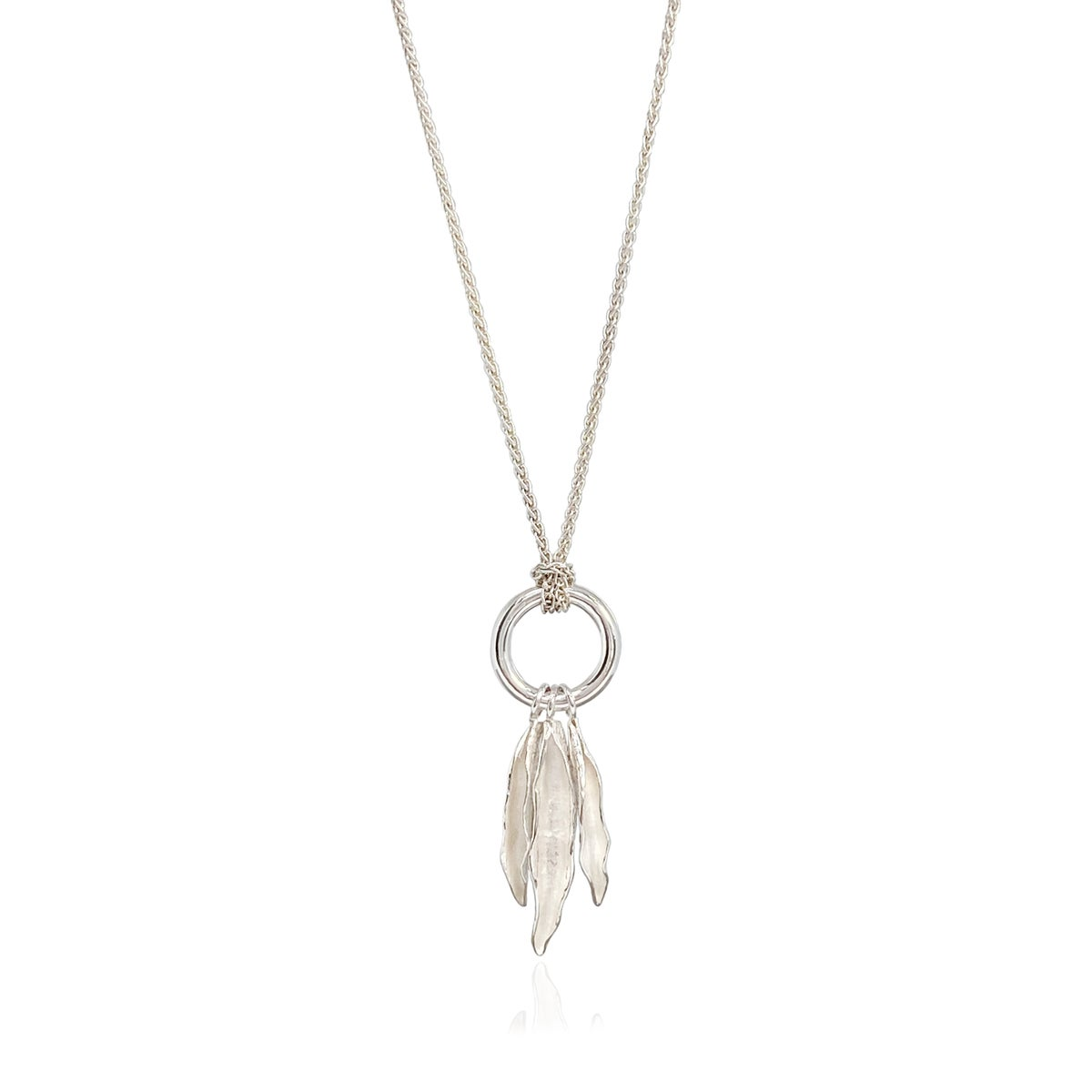 Image of Silver seedpod & circle necklace