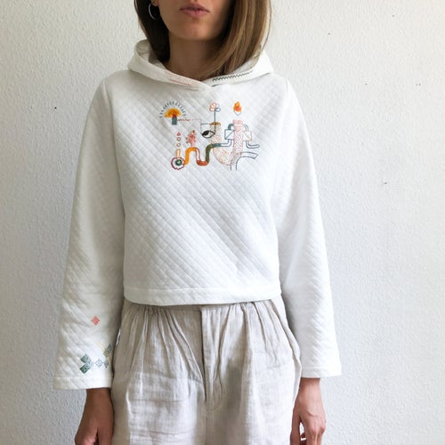Image of The Catalyst of Spring - hand embroidered Corvera Vargas hoodie, one of a kind