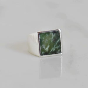 Image of Myanmar Green Jade flat square cut wide band silver ring