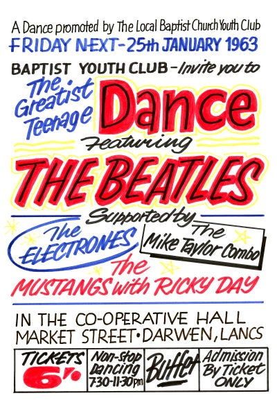 Image of THE BEATLES THE CO-OPERATIVE HALL DARWIN CONCERT POSTER 1963