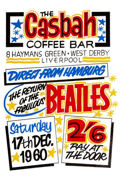 Image of THE BEATLES AT THE CASBAH CONCERT POSTER 1960