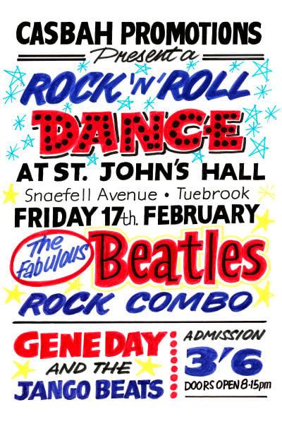 Image of THE BEATLES ROCK 'N' ROLL DANCE CONCERT POSTER 1961