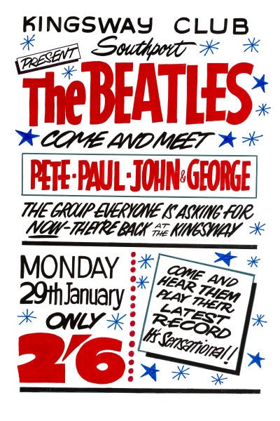 Image of THE BEATLES THE KINGSWAY CLUB SOUTHPORT CONCERT POSTER 1962