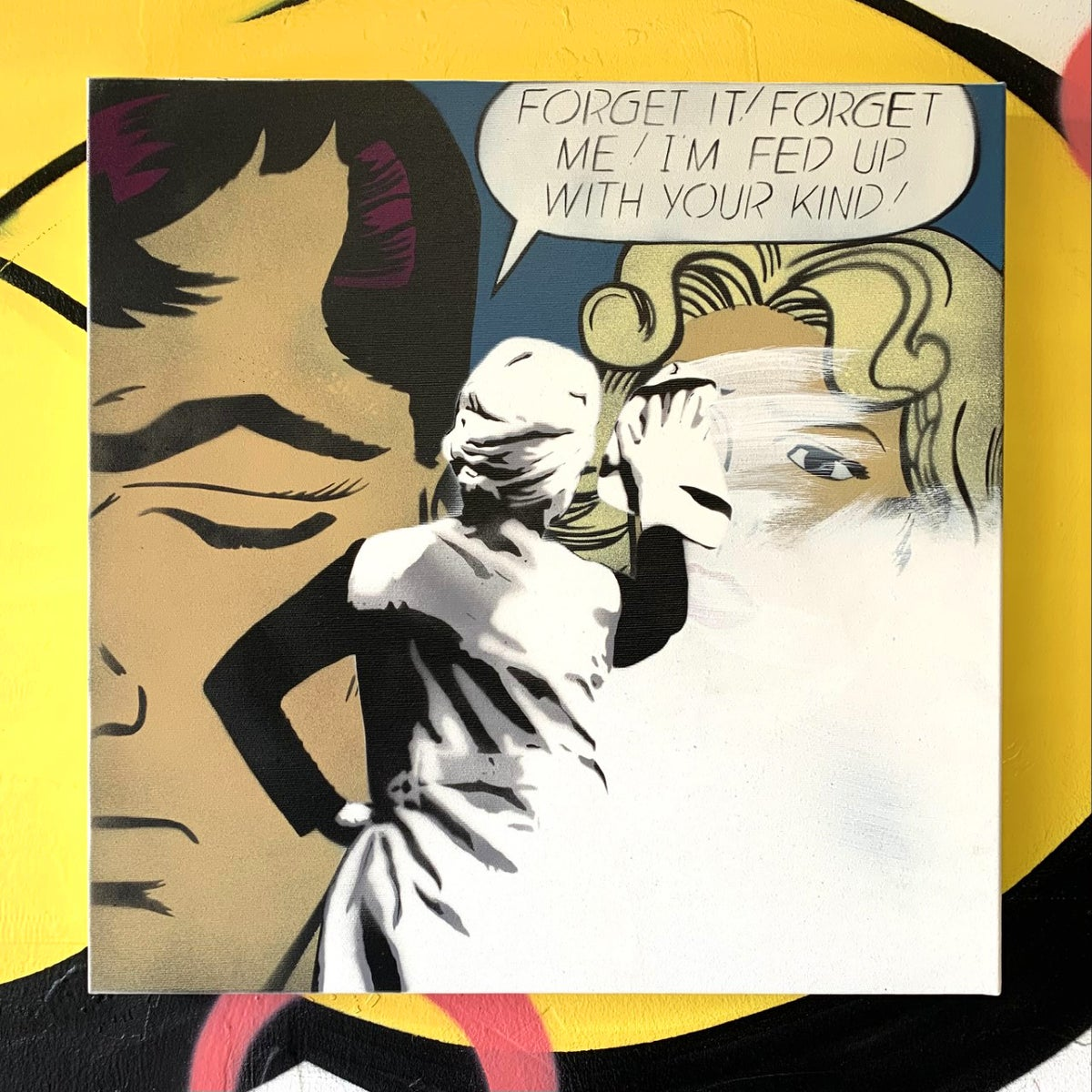 "Image of ""Ex Remover"" Original 1/1 (Dark Blue) on 50x50cm Deep Edge Canvas"