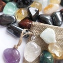 Positive Energy Crystal Travel Set: Aquamarine, Fluorite, Rose Quartz, Tigers Eye - in Charm Bag