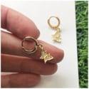 Jewel Butterfly Hoop Earrings