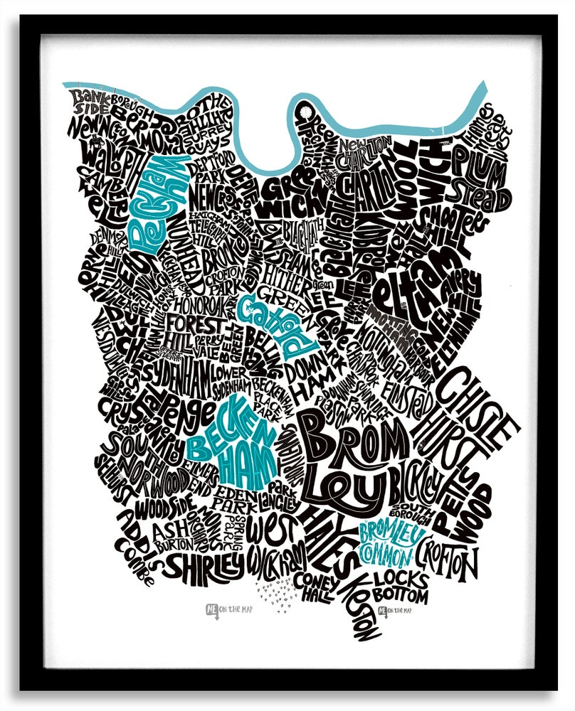 Image of South East London Type Map - Portrait