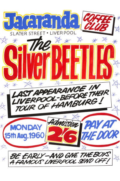 Image of THE SILVER BEETLES AT THE JACARANDA CLUB CONCERT POSTER 1960