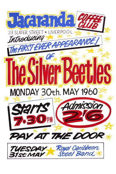 Image of THE BEATLES FIRST APPEARANCE AT THE JACARANDA CLUB POSTER 1960