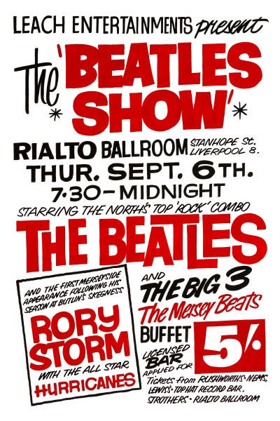Image of THE BEATLES SHOW AT THE RIALTO GIG POSTER 1962
