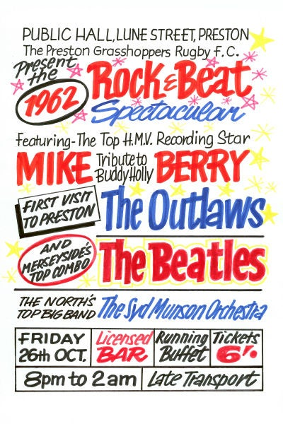Image of THE BEATLES PUBLIC HALL PRESTON CONCERT POSTER 1962