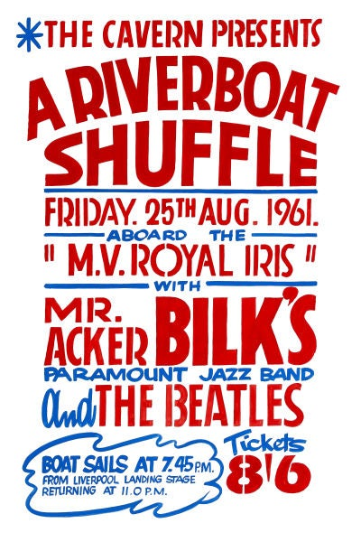 Image of THE BEATLES 'RIVERBOAT SHUFFLE' CONCERT POSTER 1961