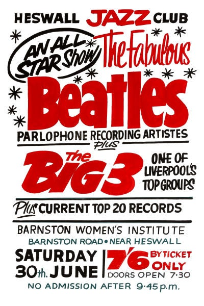 Image of THE BEATLES HESWALL JAZZ CLUB CONCERT POSTER 1962
