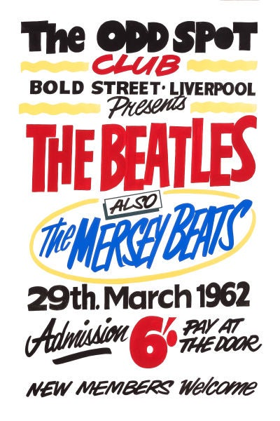 Image of THE BEATLES AT THE ODD SPOT LIVERPOOL CONCERT POSTER 1962