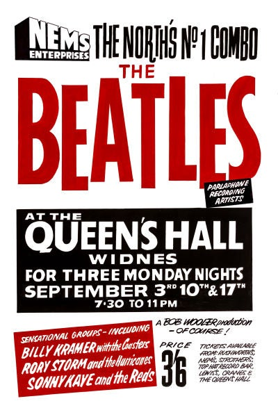 Image of THE BEATLES AT THE QUEENS HALL CONCERT POSTER 1962